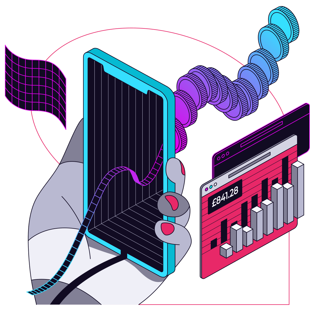 Gophr Illustration Mobile Currency Graph